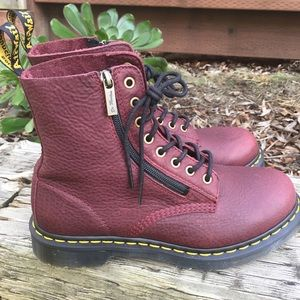 NEW Dr Martens Pascal Zip Cherry Red Combat Boots